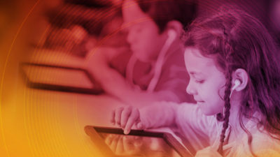 Children using educational software in the classroom.